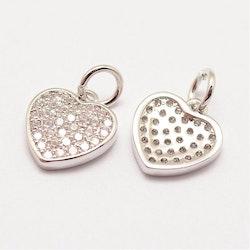 Antikfärgad berlock cubic zirconia, hjärta, 1 st