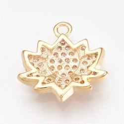 Guldfärgad berlock cubic zirconia, lotus, 1 st