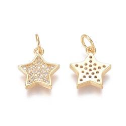 Guldfärgad berlock cubic zirconia, stjärna, 1 st