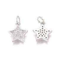 Antikfärgad berlock cubic zirconia, stjärna, 1 st