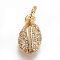 Guldfärgad berlock cubic zirconia, snäcka, 1 st
