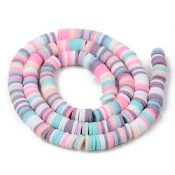 Heishi pärlor mix pastell, 1 sträng