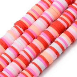 Heishi pärlor mix röd/rosa, 1 sträng