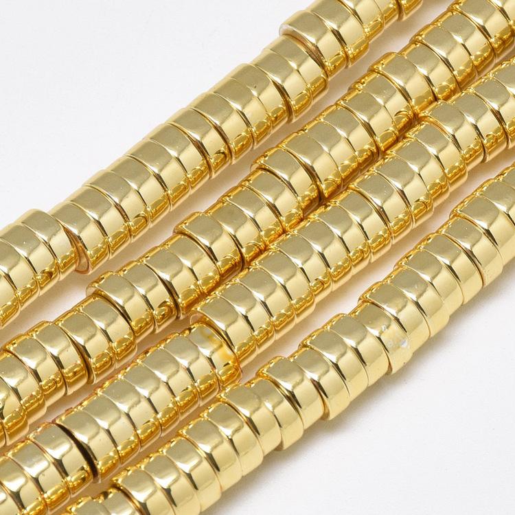 Guldfärgad hematit rondeller 6x2 mm, 1 sträng