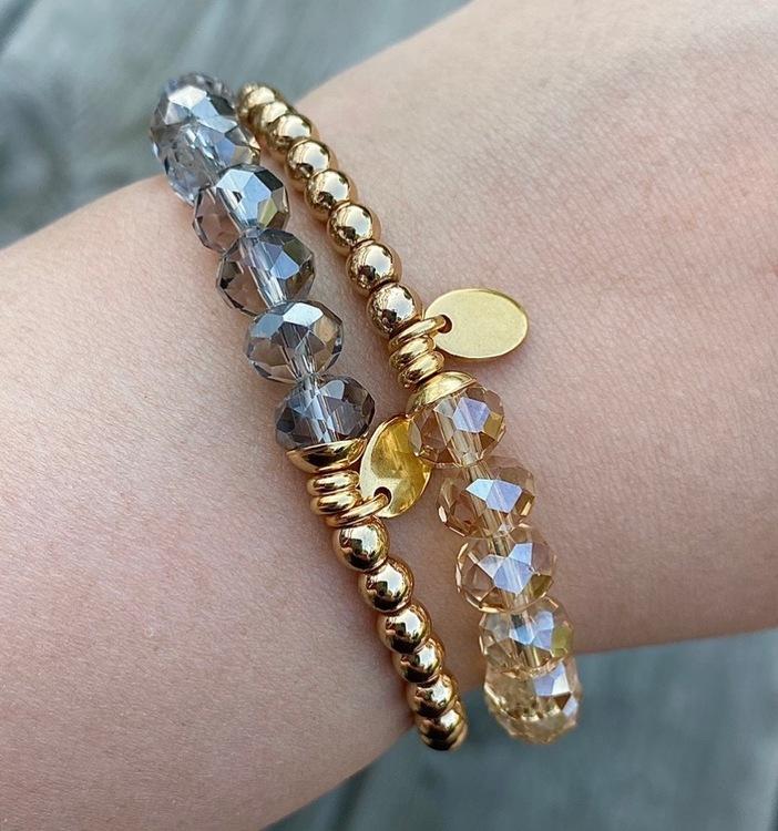 Armband - Abacus grå/guld