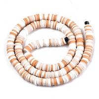 Heishi pärlor mix vit/beige, 1 sträng