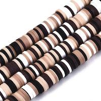 Heishi pärlor mix brun, 1 sträng