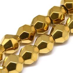 Antikt guldfärgad hematit facetterade 9-10 mm, 1 sträng