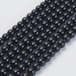 Vaxade glaspärlor 6 mm svarta, 1 sträng