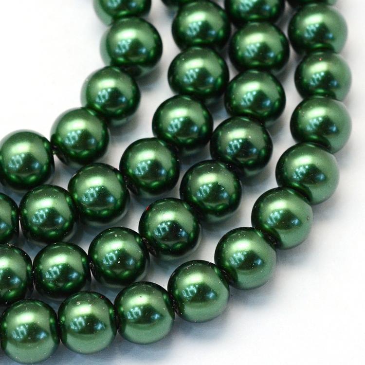 Vaxade glaspärlor 8 mm mörkgröna, 1 sträng