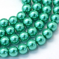 Vaxade glaspärlor 8 mm blågrön, 1 sträng