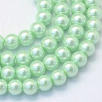 Vaxade glaspärlor 4 mm ljusgrön, 1 sträng