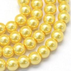 Vaxade glaspärlor 4 mm gul, 1 sträng