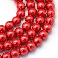 Vaxade glaspärlor 6 mm röda, 1 sträng