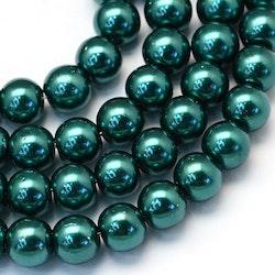 Vaxade glaspärlor 8 mm mörk petrol, 1 sträng