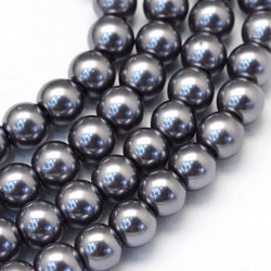 Vaxade glaspärlor 3 mm mörkgrå, 1 sträng