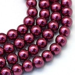 Vaxade glaspärlor 8 mm vinröda, 1 sträng