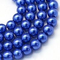 Vaxade glaspärlor 8 mm blå, 1 sträng