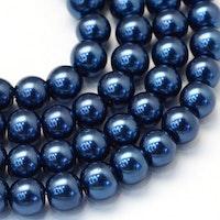 Vaxade glaspärlor 8 mm mörkblå, 1 sträng