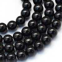 Glaspärlor 10 mm svarta, 1 sträng