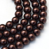 Vaxade glaspärlor 8 mm mörkbruna, 1 sträng