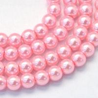 Vaxade glaspärlor 4 mm rosa, 1 sträng