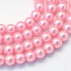 Vaxade glaspärlor 6 mm rosa, 1 sträng