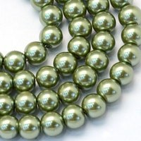 Vaxade glaspärlor 6 mm oliv, 1 sträng