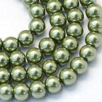 Vaxade glaspärlor 10 mm oliv, 1 sträng