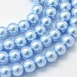Vaxade glaspärlor 8 mm ljusblå, 1 sträng