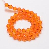 Bicone 4 mm orange, 1 sträng