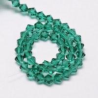 Bicone 4 mm blågrön, 1 sträng