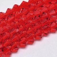 Bicone 4 mm röd, 1 sträng