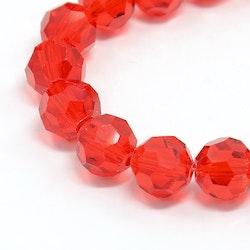 Facetterade glaspärlor 8 mm röda, 1 sträng