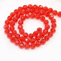 Facetterade glaspärlor 6 mm röda, 1 sträng