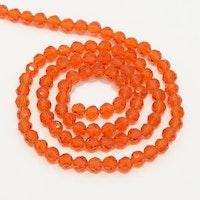 Facetterade glaspärlor 6 mm orange, 1 sträng