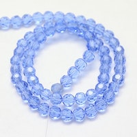 Facetterade glaspärlor 4 mm ljusblå, 1 sträng