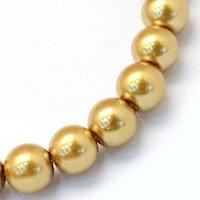 Vaxade glaspärlor 6 mm guld, 1 sträng