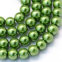 Vaxade glaspärlor 8 mm gröna, 1 sträng
