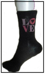 "Flick- / Dam sock. Svart m ""Love"""