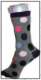 Flick- / Dam sock. Grå med Ringar.