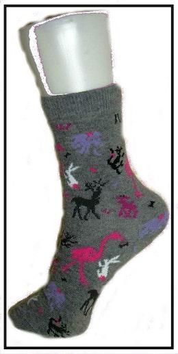 Flick- / Dam sock. Grå med Fåglar