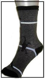 Barnankelsock Grå strumpa med vit rand