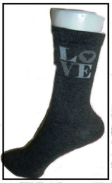 "Flick- / Dam sock. Antrasit m ""Love"""