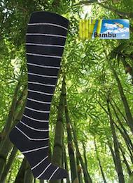 Stödstrumpa Bambu Svart m vita ränder