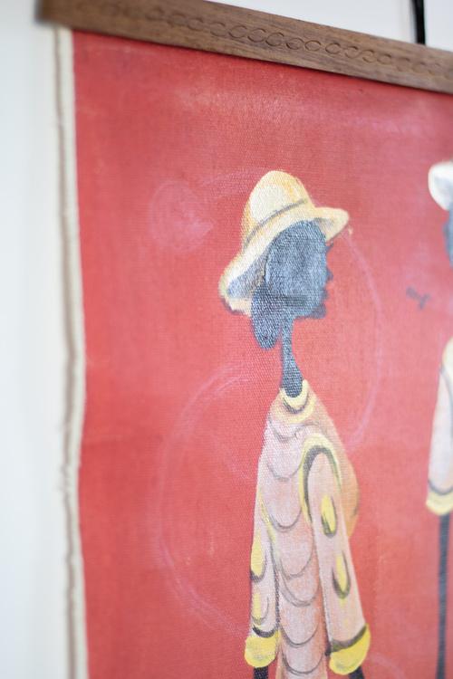 Maleri på lerret og teaklister