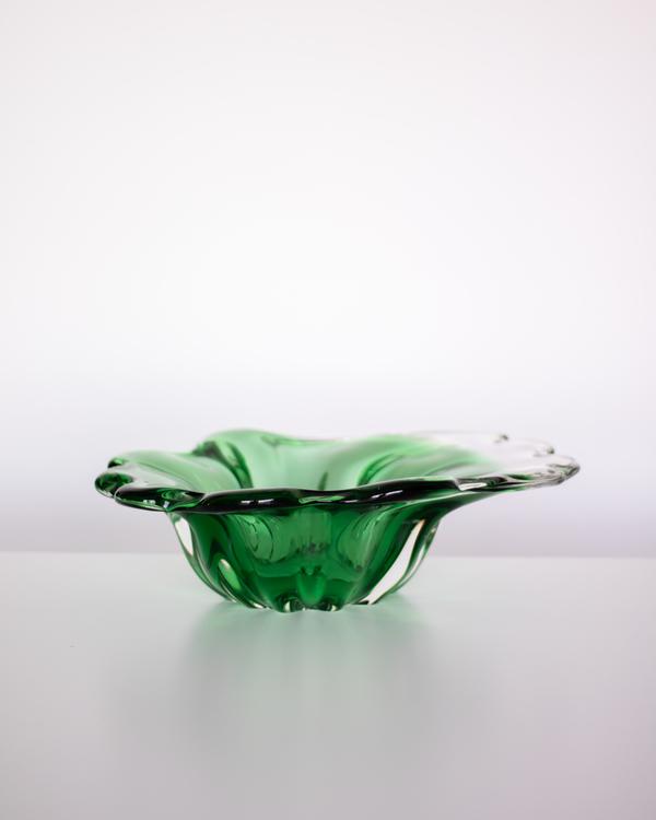 Grønt glassfat/skål