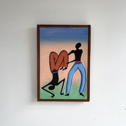 Fargerikt maleri på treplate