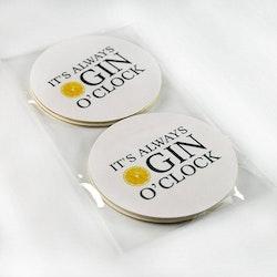 "Glasunderlägg ""It's Always Gin O'Clock"" 4-pack"