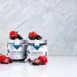 Chokladdragé med jordgubbe, utan tillsatt socker